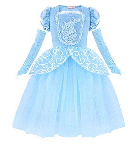 AmzBarley Aschenputtel Kostüm Kinder Mädchen Cinderella Prinzessin Kleid Schick Party Kleider Halloween Karneval Cosplay Geburtstag Ankleiden Kleidung, Blau 03, 3-4 Jahre (Mädchen Für Halloween-kostüme Drei)