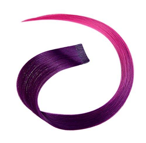 2 morceaux de Mode cheveux invisibles pièce extension perruque, violet foncé