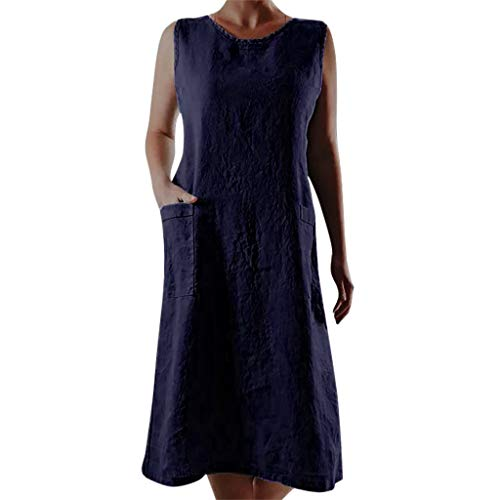 Damen Maxikleid Ärmellos Sommerkleid Baumwolle Leinen Striped Casual Kleider Boho Party Kleid Leinenkleid Strandkleid Lang Mit Taschen (S/EU:34, Marine) -