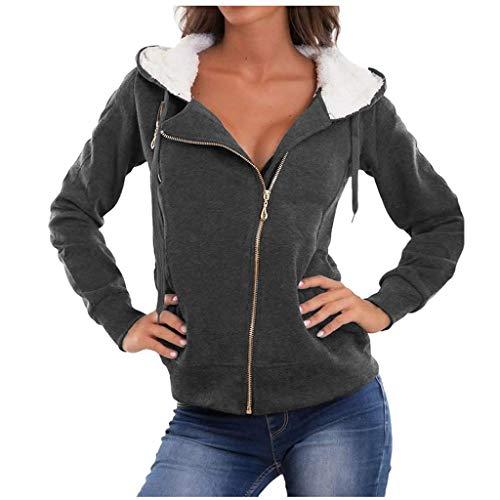 TOWAKM Mantel,Frauen Fashion Solid Oberbekleidung Taschen Jacke Zipper Langarm PlüSch Mit Kapuze(Grau,Large) -