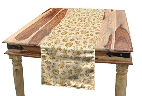 ABAKUHAUS Rosa Tischläufer, Waldtiere Polka Dots, Esszimmer Küche Rechteckiger Dekorativer Tischläufer, 40 x 225 cm, Beige Rosa