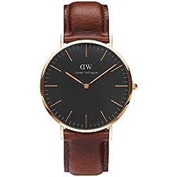 Daniel Wellington Reloj analogico para Unisex de Cuarzo con Correa en Piel DW00100124