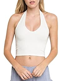 Jinglive Femmes Débardeurs Pin Up Dos Nu Crop Top T-Shirt Moulante Couleur  Unie Chemisiers Haut Tank Tops,… 8be6389e5e18