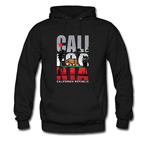 HKdiy California Republic Custom Classic Men Hoodie Black-1