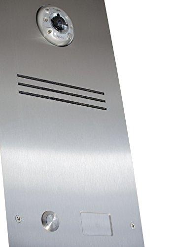 2er Edelstahl Standbriefkasten BASIC 810-SP mit Klingel – Namensschilder – GIRA Kamera & Einbaulautsprecher - 4