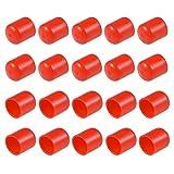 sourcing map Protector de rosca de tornillo Tapas de tubo rojo 50uds Cubierta de tapa de extremo redondo de 4,5mm de ID