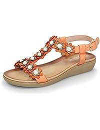 c1d47993d675 ... for Shoes   Bags   Shoes   Women s Shoes   Sandals   Orange. Lunar  Women s Bijou T-Bar Flower Sandal