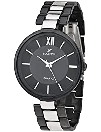 LUCERNE Analogue Black Designer Dial Metal Strap Casual Gifts Watch For Men A Modern Men Watch Gifts For Friends
