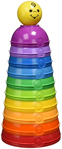 Mattel Fisher-Price W4472 - Brilliant Basics Stack und Roll Cups Spielkugel-Pyramide