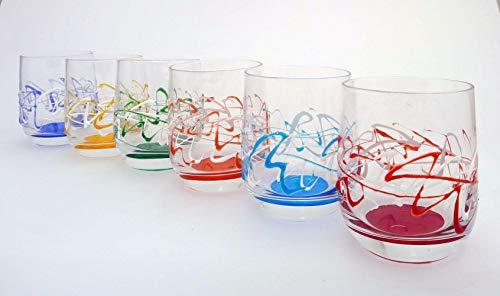 Cl Wasser (Set mit 6 Gläsern Jazz Wasser cl. 27 monocolour von Hand bemalt Glas, Murano Venedig Stil)