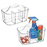 mDesign Juego de 2 cestas organizadoras con asa para productos de limpieza – Gran alternativa para guardar las pinzas de la ropa – Pequeños cestos de plástico con 4 compartimentos – transparente