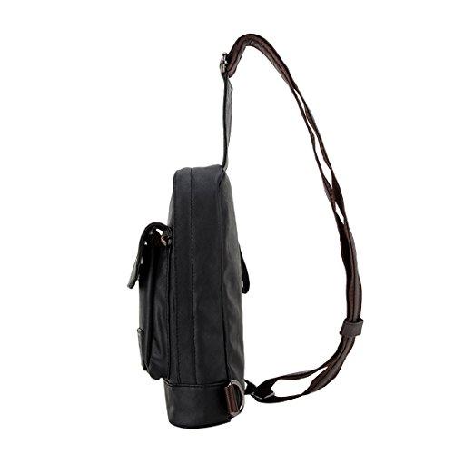 Wewod Sling Bag Rucksack Brusttasche Trekkingrucksack Daypack Fahrradrucksack Sportrucksack Schultasche Umhängetasche Schultertasche Crossbody Bag (Schwarz) Schwarz