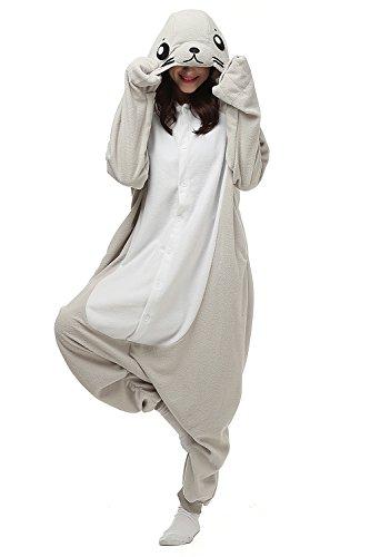 Kigurumi Seal Kostüm Tier Onesies Cosplay Nachtwäsche Pyjamas Erwachsene Unisex Jumpsuit Damen Herren XL (Erwachsene Kostüm Gizmo)