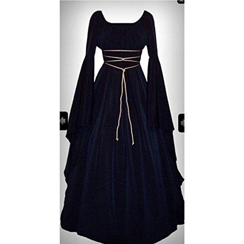 omens Medieval Dress 1970s Victorian Renaissance Gothic Gown Costumes S-XL Satin Gothic Viktorianisches Kleid Renaissance Kostüm (Das Renaissance Lady Kostüm)
