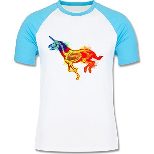 Comic Shirts - Einhorn Skelett - zweifarbiges Baseballshirt für Männer Weiß/Türkis
