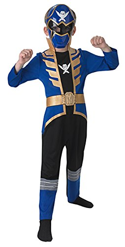 stüm für Kinder - Power Ranger Classic Super Megaforce, S, blau (Kinder Blaue Power Ranger Kostüm)