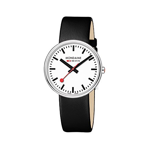 Mondaine Official Swiss Railways Watch Women's/ Men's Watch, Quartz with Black Leather Strap