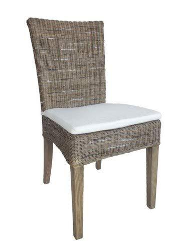 Casamia Rattan-Stuhl Esszimmerstuhl Cardine weiß oder braun Basalt mit Sitzkissen, One Size