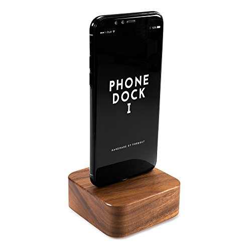 4 Füßen Mit Micro-usb-kabel (FORMGUT® Phone Dock I // Dockingstation Holz mit Original Foxconn Apple Lightning Kabel mit lebenslanger Garantie für iPhone X, 8, 8 Plus 7, 7 Plus, 6, 6 Plus, 5, 5s, 5c, SE // Nussbaum)