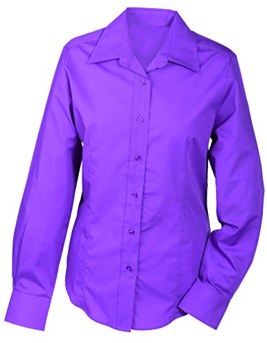 JAMES & NICHOLSON Ladies' Promotion Long-Sleeved, Blouse Femme Rosa (Purple)