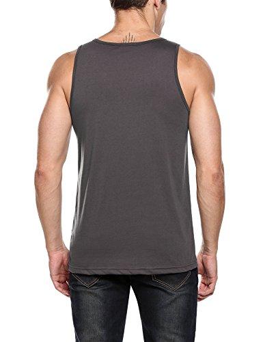 HOTOUCH Herren Top Tanktop T-Shirt Print Tankshirt Unterhemden Ärmellos Muskelshirt Typ1-Dunkelgrau