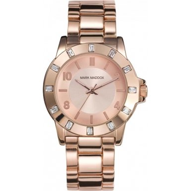 Mark Maddox Women's Quartz Watch with Rose Gold Dial Analogue Display and Rose Gold Bracelet MM3002-95