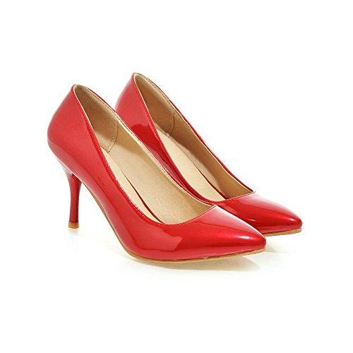 AalarDom Damen Hoher Absatz Niedrig-Spitze Rein Ziehen auf Stiefel, Rot, 34