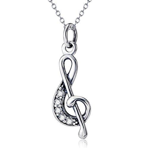 Aienid Frauen Geschenk 925 Sterling Silber Halskette für Damen Treble Notenschlüssel G