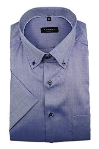 eterna Herren Kurzarm Business Hemd Comfort Fit Oxford BD Classic-Button-Down-Kragen Unifarben 8932.K19L (Mittelblau, W47, Länge Kurzarm) Button-down-band