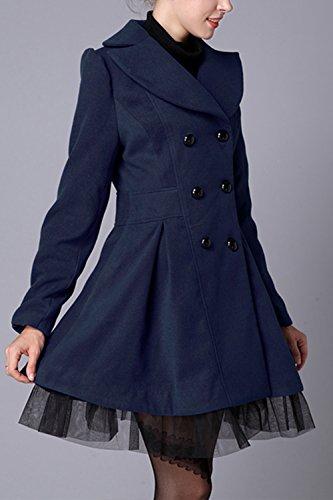 Les Femmes Lhiver Élégant Lace Patchwork À Double Boutonnage, Manteaux De Laine Vêtements Darkblue
