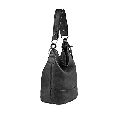OBC DAMEN TASCHE HOBO-BAG Metallic Shopper Umhängetasche Handtasche Schultertasche Henkeltasche Beuteltasche CrossOver Tote-Bag (Black 29x25x17) Schwarz 29x25x17 cm