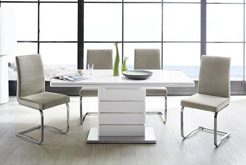 Esstisch in weiß Hochglanz, ausziehbarer Esszimmertisch mit Synchronauszug, 160-200 cm breit und 90