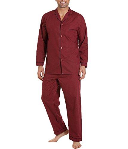Pflegeleichtes Baumwollmischgewebe, klassischer, langer Pyjama für Herren Gr. XX-Large, Wine/Navy Trim (Trim Hosen-anzug)