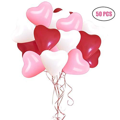 zluftballons Rot Weiß 12 Zoll Herz Ballons Helium für Hochzeit Valentinstag Geburtstag Party Dekoration ()