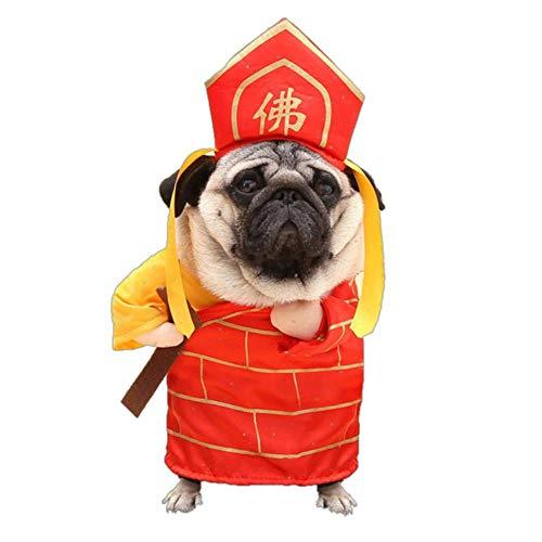 Buddha Dog Kostüm - CCYK Lustiger Hund Katze Kostüme Boxer, Arzt, Krankenschwester Cosplay Anzug Haustierkleidung Halloween Uniform Kleidung für Welpen Hunde Kostüm für eine Katze, Buddha, M