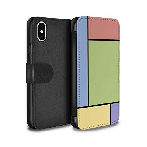 Stuff4 Coque/Etui/Housse Cuir PU Case/Cover pour Apple iPhone X/10 / 3 Carreaux/Violet Design / Carreaux Pastel Collection 5 Carreaux/Vert