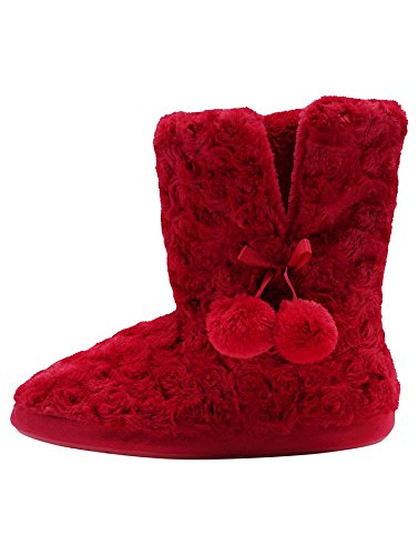 mco-ladies-super-soft-coft-fluffy-faux-fur-pom-pom-trim-slipper-boots-red-5