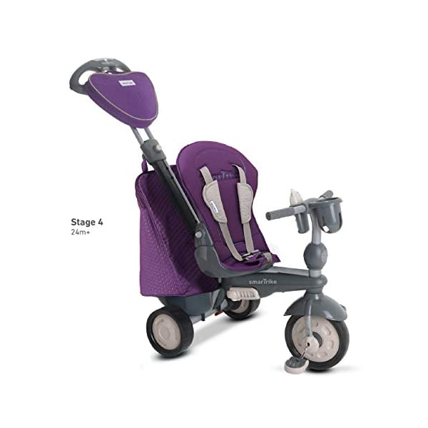 smarTrike 8400500 Baby Tricycle Smartrike Adjustable/ removable, telescopic touch steering parent handle, reclining seat 5-point seat harness and safety bar Quality storage bag coordinated with detachable and adjustable canopy, shoulder pads and seat pad 5