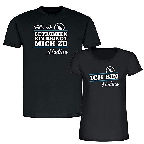 Partner T-Shirts Falls ich betrunken Bin bringt Mich zu. - personalisiert mit Namen - schwarz - lustiger Spruch - Couple T-Shirt für Sie & Ihn -
