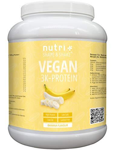 Protein Vegan Banane 1kg | 84,1% Eiweiß | Nutri-Plus Shape & Shake 3k-Proteinpulver | Veganes Eiweißpulver ohne Laktose & Milcheiweiß | Low-Carb