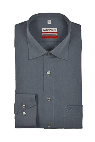 Marvelis - Modern Fit - Bügelfreies Herren Langarm Hemd in verschiedenen Farben (4704/64) Graublau (61)