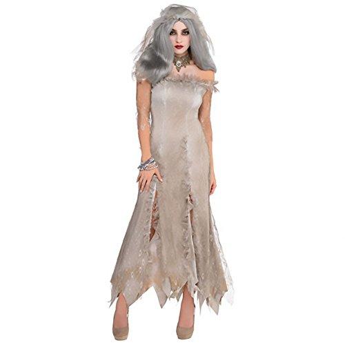 shoperama Untote Zombie Braut Damen-Kostüm Undead Bride Halloween Geist Kleid Schleier Geisterbraut, Größe:XS/S