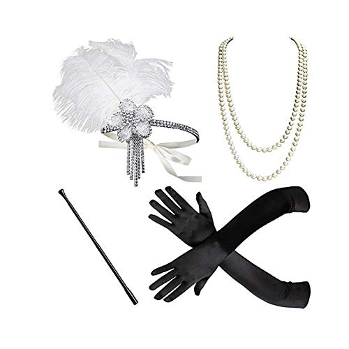 Kostüm Vulkan - Epinki Damen 1920er Jahre Zubehör Set 4 Pcs Flapper Kostüm Feder Blumen Quaste Stirnband/Perlenkette/Handschuhe/Zigarettenhalter 20s Kostüme Inspiriert Accessoires Weiß