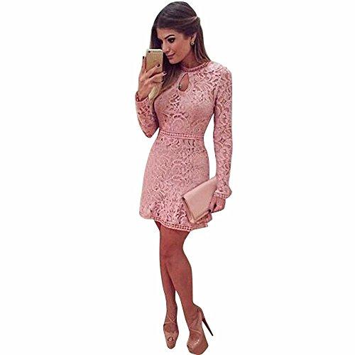 Estein Vestido de noche del partido del vestido delgado de manga larga rosada de las mujeres hueco atractiva del cordón