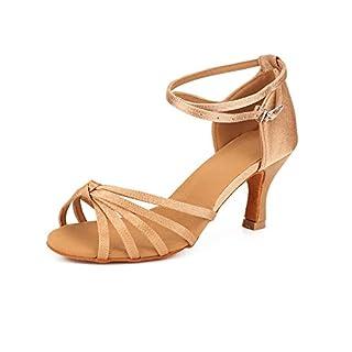 TRIWORIAE - Women's Ballroom/Latin Dance Shoes Sandals Beige Knot(Heel-7cm) 4.5 UK/23.5 CM