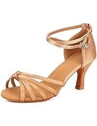 VASHCAME-Zapatos de Baile Latino de Tacón Alto/Medio para Mujer