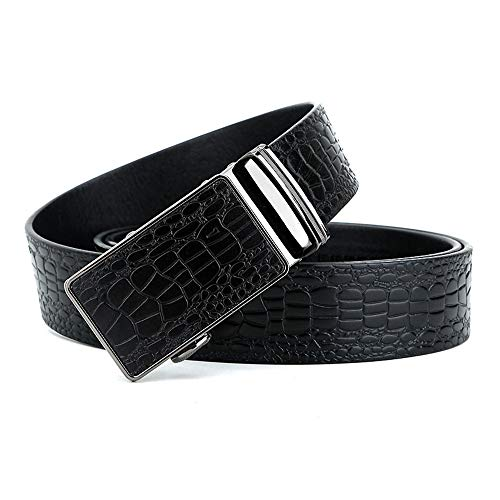 Cinturón de Vestir para Hombre Patrón de cocodrilo Hombres Cinturón de Cuero con Hebilla automática Cinturón para jóvenes Elegante y Duradero (Color : Negro, tamaño : 115cm)