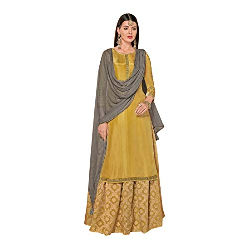 Mehendi 8652 Damen Palazzo Seide Muslim Festival lang Kurti mit Banarasi Seide Palazzo Salwar Kameez