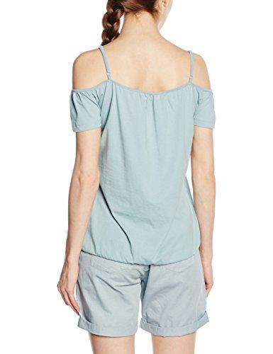 edc by ESPRIT Damen T-Shirt 056cc1k044-Im Carmen Stil Blau (LIGHT TURQUOISE 480)