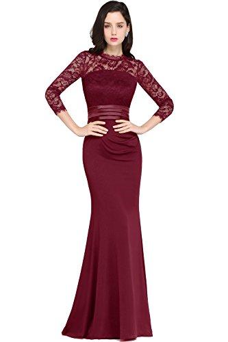 Damen Damen Langes Abendkleider Ballkleid 3/4 Arm Satin Abschlusskleid Festkleider Weinrot 32